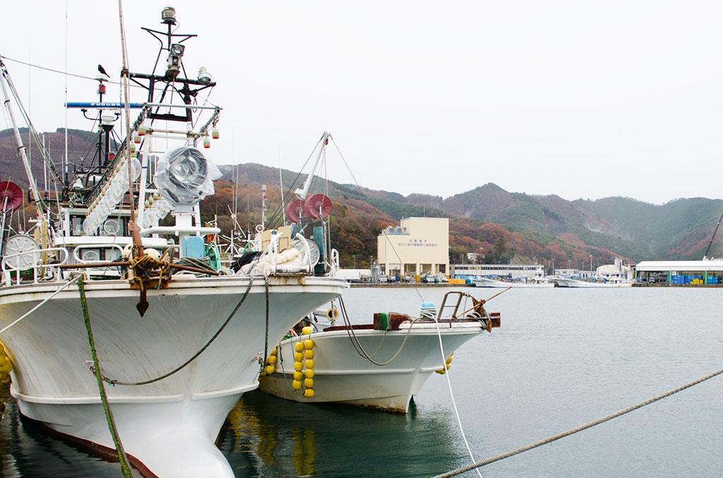 女川の港に係留する漁船